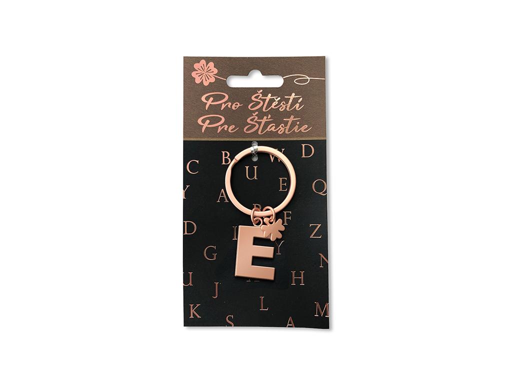 Klíčenka pro štěstí E, rose gold