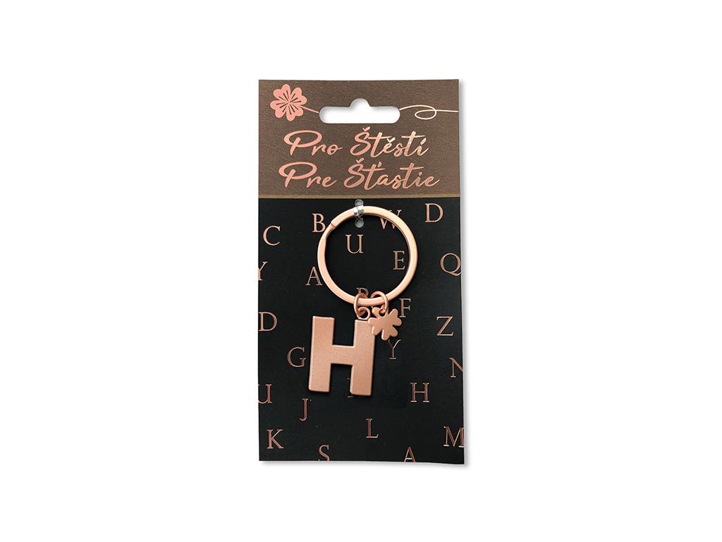Klíčenka pro štěstí H, rose gold