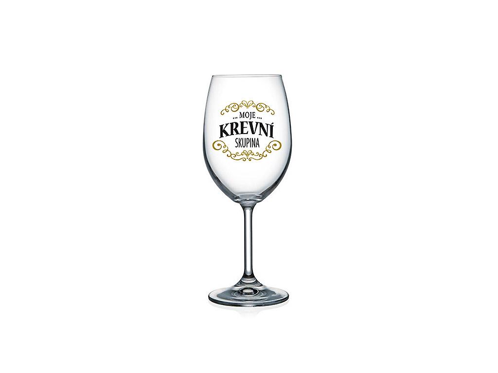 Vtipná sklenice na víno s potiskem Moje krevní skupina