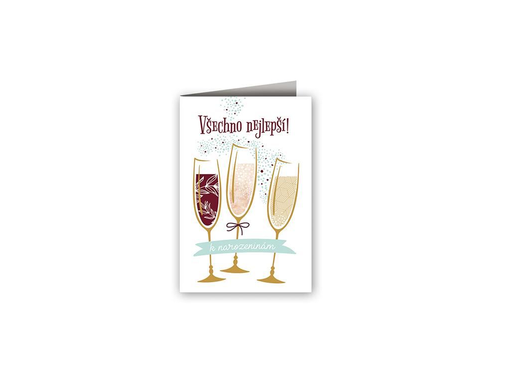 Přání k narozeninám Sklenice s vínem