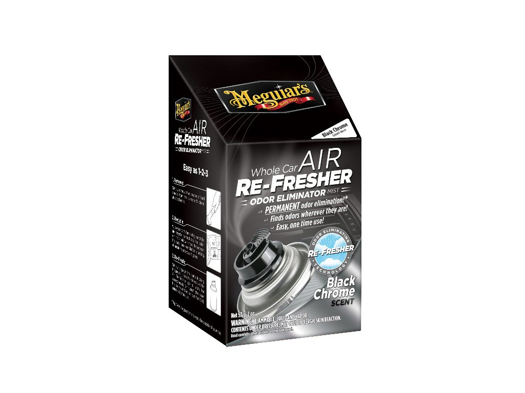 Meguiars Air Re Fresher Odor Eliminator Black Chrome Scent cistic klimatizace pohlcovac pachu osvezovac vzduchu vune Black Chrome 71 g 2