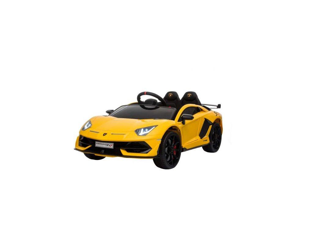 Elektrické autíčko Lamborghini Aventador, 12V, 2,4 GHz dálkové ovládání, USB / SD Vstup, odpružení, vertikální otvíravé dveře, měkké EVA kola, 2 X MOTOR, žluté, ORIGINAL licence