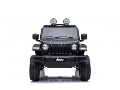Elektrické autíčko JEEP Wrangler, Jednomístné, černé, Kožená sedadla, Rádio s Bluetooth přehrávačem, SD / USB vstup, Pohon 4x4, 12V10Ah Baterie, EVA kola, Odpružené nápravy, 2,4 GHz Dálkové Ovládání