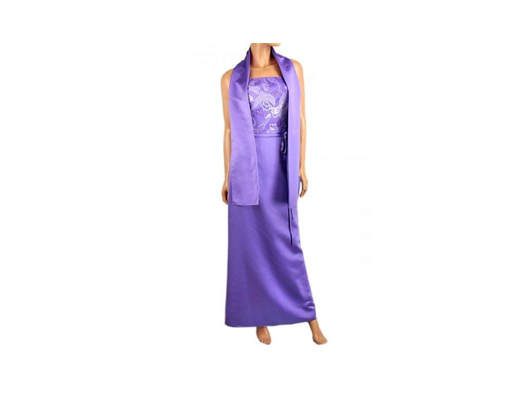 Fialové společenské dlouhé šaty - NemamCoNaSebe.cz 5eafddd113