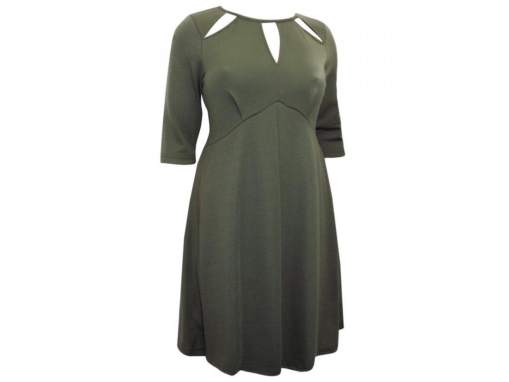 c9b23ac0726 Dámské zelené šaty krátký rukáv - NemamCoNaSebe.cz