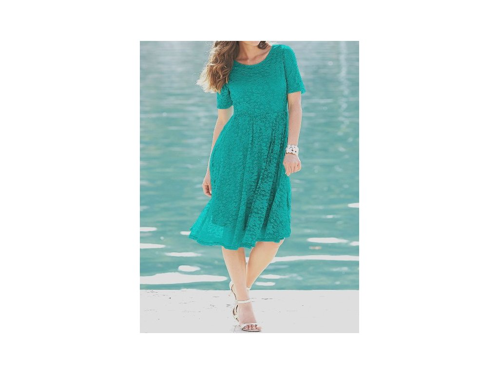 a89d52ea5c2f Dámské plesové krajkové zelené společenské šaty velikost 48 ...