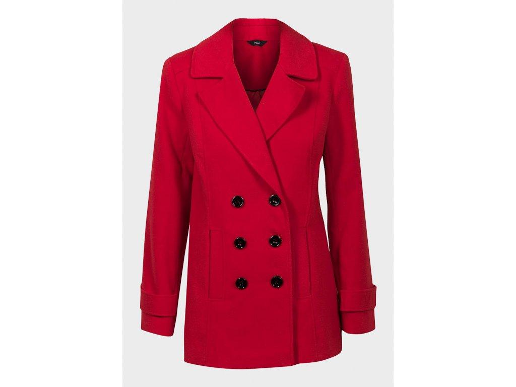 Dámský zimní červený projmutý kabát - NemamCoNaSebe.cz 6758bd90e85