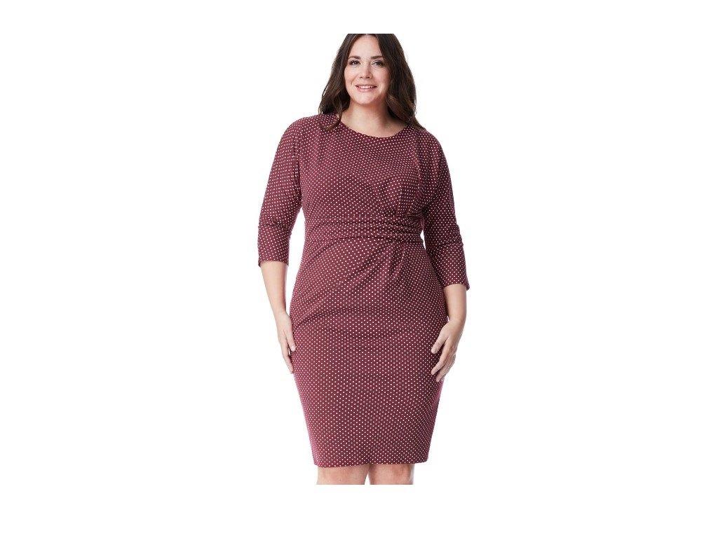 d1b37b07265 12a Dámské červené šaty koktejlky puntík velikost 50