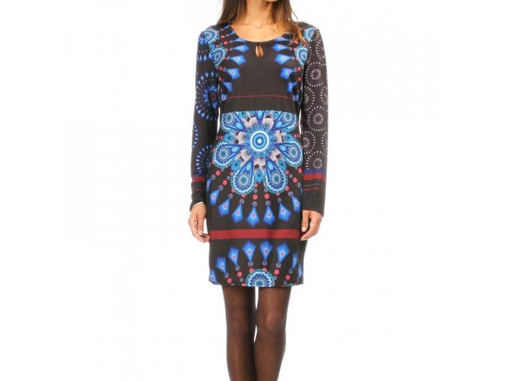 Modré úpletové šaty tunika 101 Idees - NemamCoNaSebe.cz 3c22f9bd62