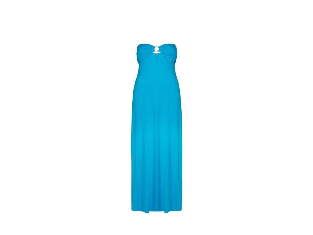 4f3d381ab5f Dlouhé letní modré šaty bez ramínek - NemamCoNaSebe.cz