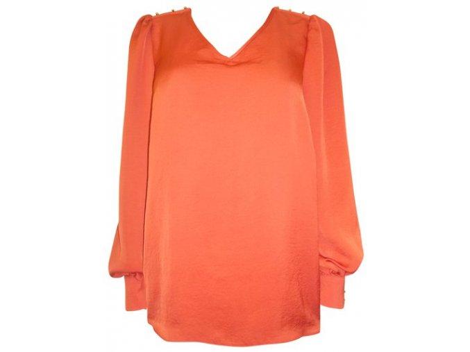 oranžová saténová halenka - košile