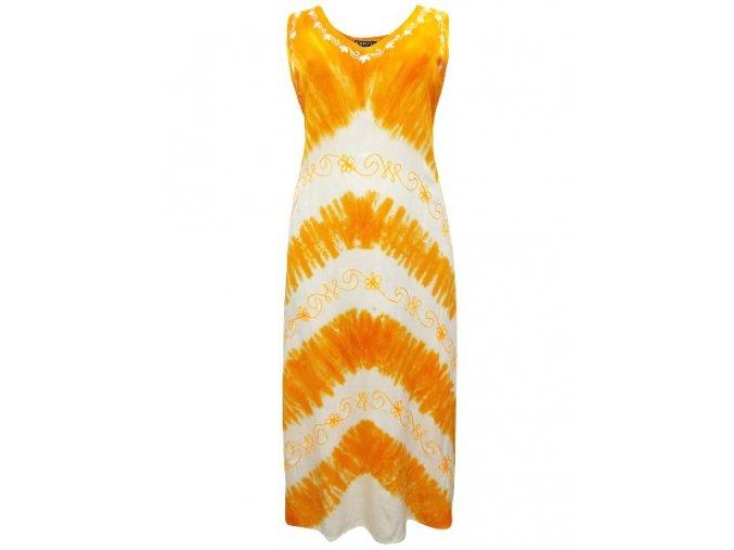 oranžovo-bílé letní batikované šaty