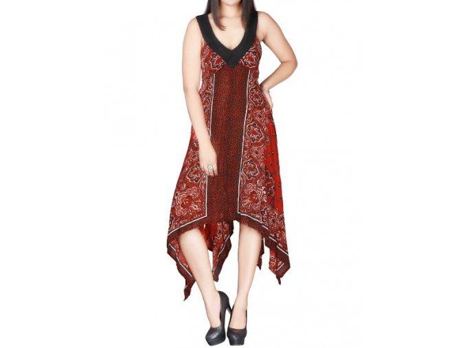 rudé letní cípaté šaty na ramínka