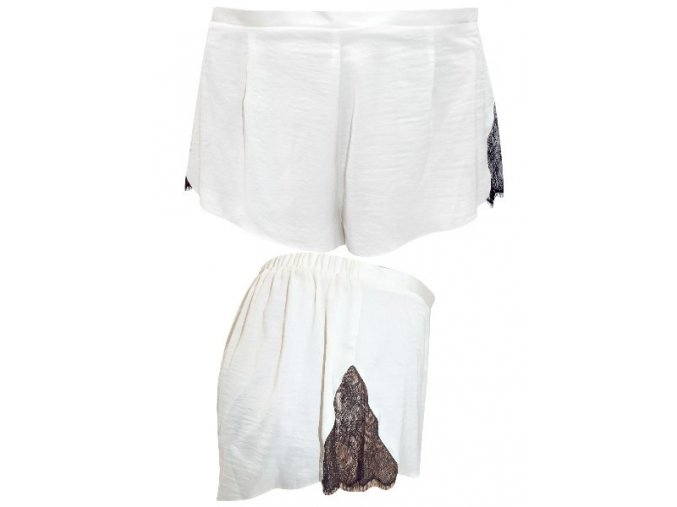 Bílé saténové pyžamové šortky kalhoty
