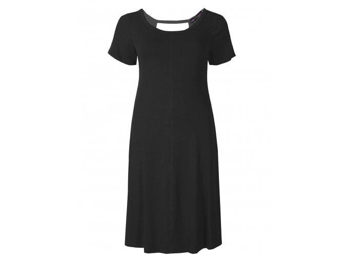 černé trikové šaty krátký rukáv