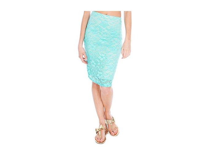 Dámská úzká krajková sukně zelená