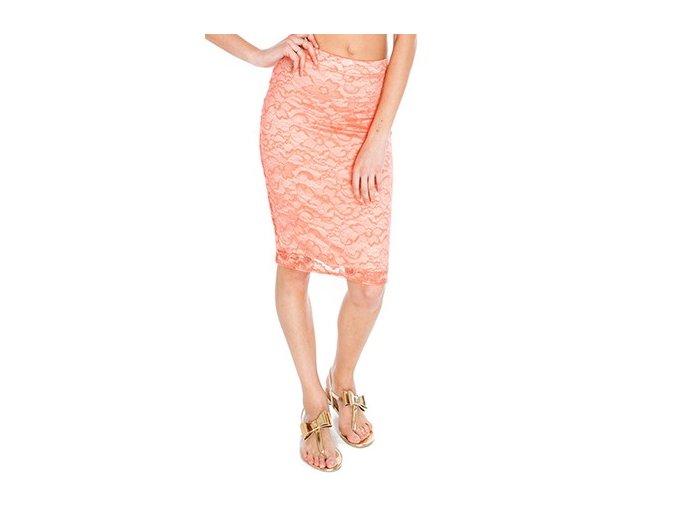Dámská úzká krajková sukně lososová