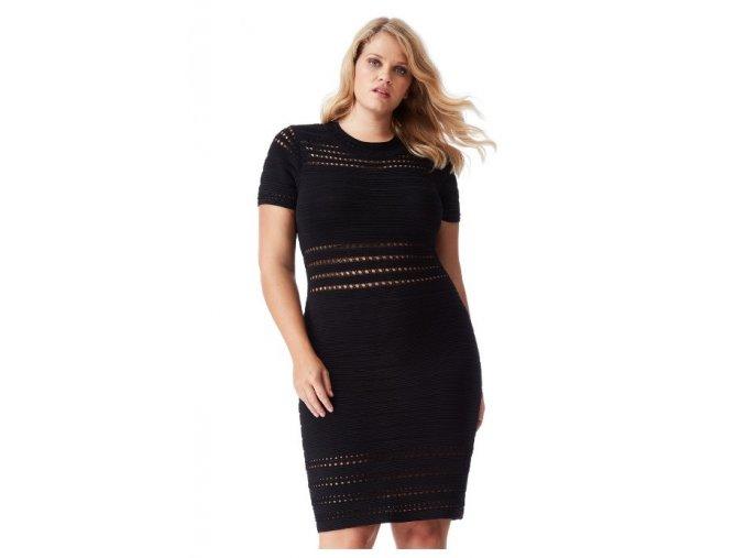 Dámské černé úpletové sexy šaty koktejlky