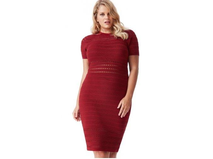Dámské červené úpletové sexy šaty koktejlky