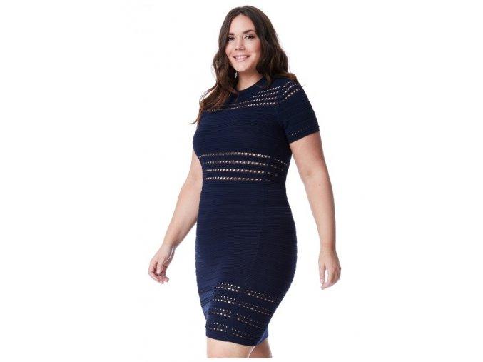 Dámské modré úpletové sexy šaty koktejlky