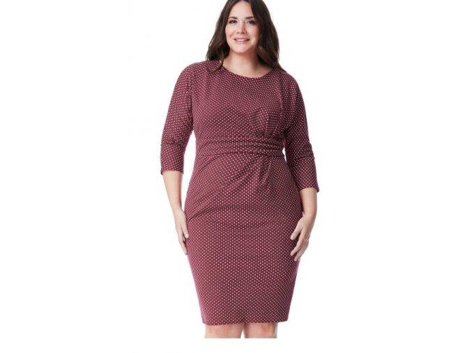 Dámské červené šaty koktejlky puntík velikost 50, 52, 54