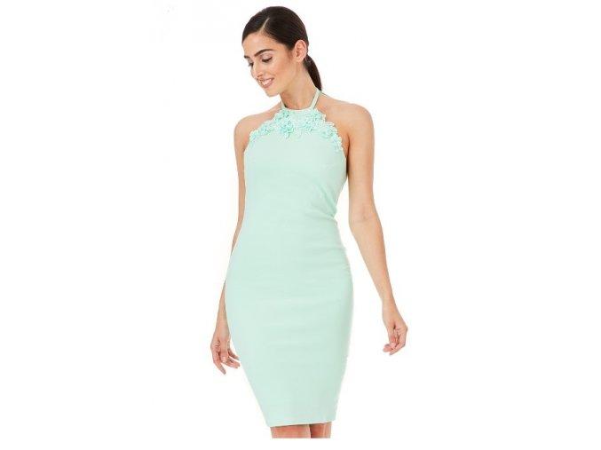 Dívčí / dámské zelené šaty holá záda