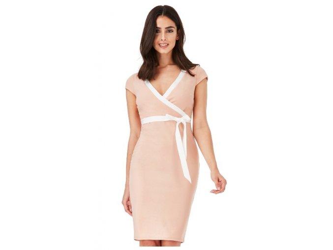 Dámské dívčí úpletové šaty koktejlky nude velikost 40 UK12