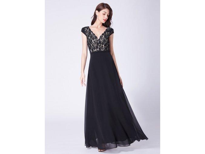 Dlouhé černé společenské plesové šaty s krajkou 42 Ever Pretty