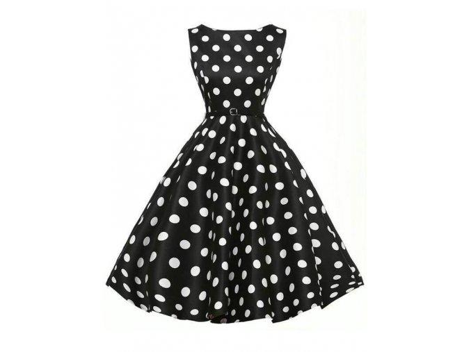Dámské retro šaty černobílé puntík