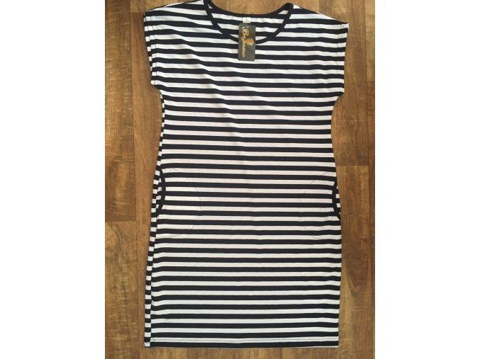 Dámské pruhované námořnické letní šaty tričkové