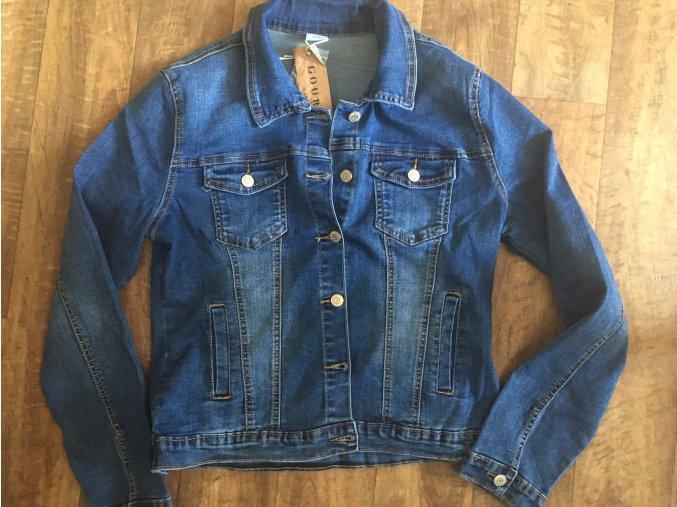 Dámská modrá riflová džínová bunda