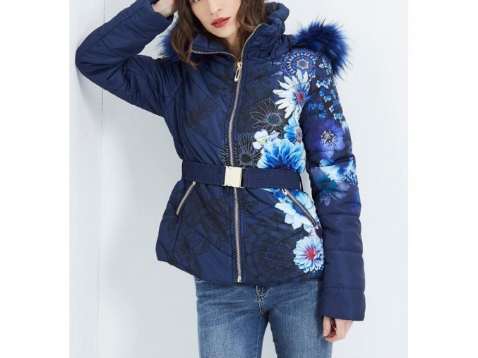 coat short quilted plus size floral print fur hood brand 101 idees 1819wlar