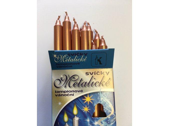 MĚDĚNÉ metalické svíčky k Andělskému zvonění 12 ks