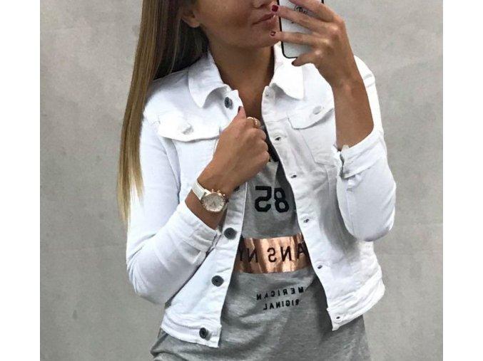 Bílá riflová džínová elastická bunda