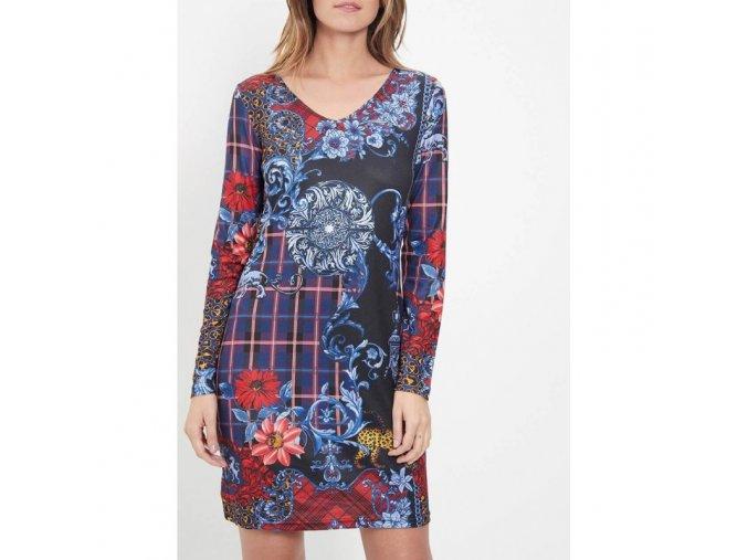 Pouzdrové šaty 101 Idees M2181 dlouhý rukáv