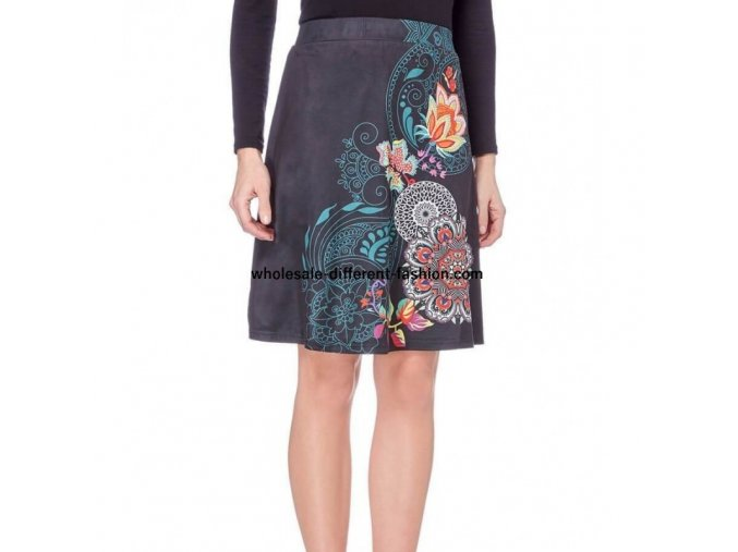 resale skirt suede print floral ethnic 101 idees 3133q (1)