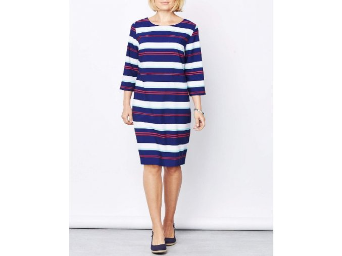 modro-bílo-červené pruhované šaty dlouhá tunika
