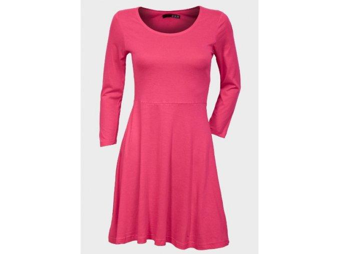 růžové pružné šaty dlouhý rukáv
