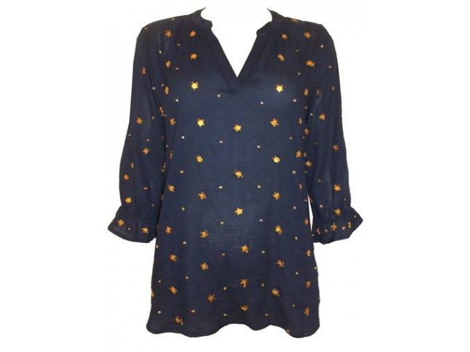 Modrá dámská bavlněná košile - halenka