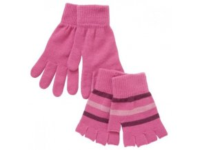 2 páry - dívčí růžové rukavice bez prstů + klasik