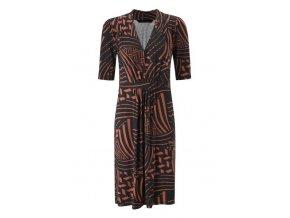 Šaty černé s oranžovým vzorem, dlouhý rukáv