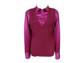 Kovově fialová košile s matně fialovou vestou 2v1