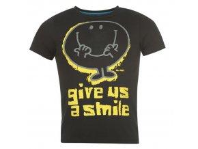 """Černé tričko s potiskem """"Mr. Smile be Happy"""""""