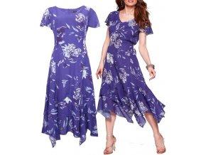 Dámské dlouhé cípaté fialové šaty velikost 48