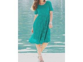 Dámské plesové krajkové zelené společenské šaty velikost 52