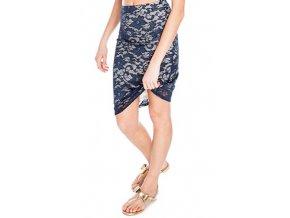 Dámská úzká krajková sukně modrá navy