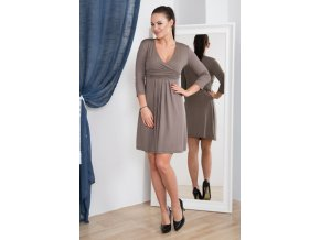 eng pm A dress with with a put in neckline cappuccino 925 4
