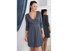 eng pm A dress with with a put in neckline graphite 924 4