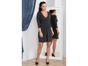eng pm A dress with with a put in neckline graphite melange 928 2