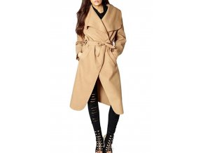 Plus Size Camel Waterfall Drapped Duster Coat 4
